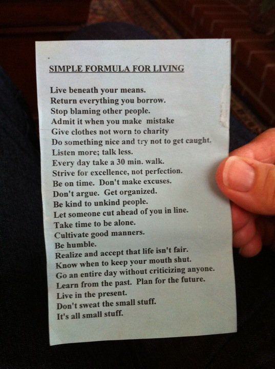 Simple formula for living